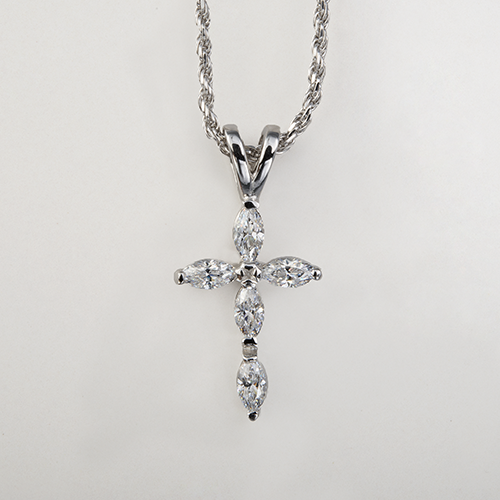 Cross pendant necklace sterling silver cz 1075 dmd collection sterling silver cubic zirconia cross pendant aloadofball Image collections