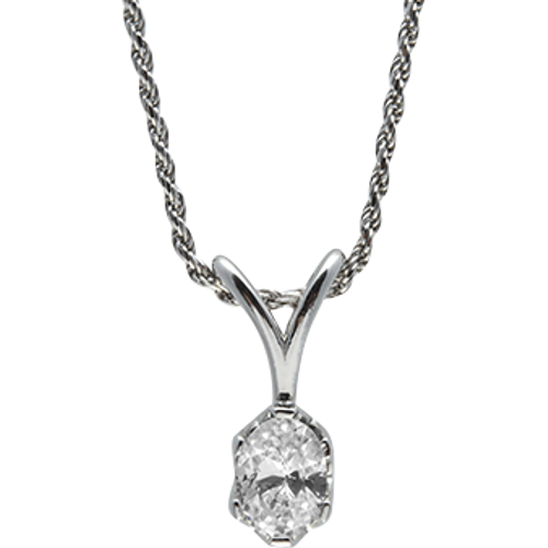 Sterling Silver Oval CZ Solitaire Pendant