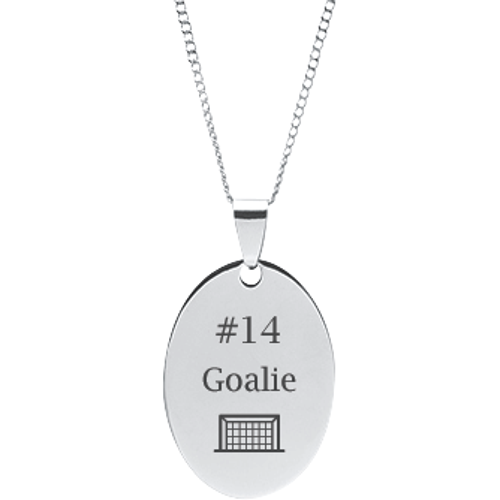Stainless Steel Engravable Hockey Stick /& Puck Dog Tag Pendant on 18 Chain