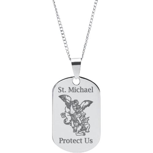 St michael prayer oval tag pendant 2177 r001 dmd collection stainless steel engraved st michael prayer pendant aloadofball Choice Image