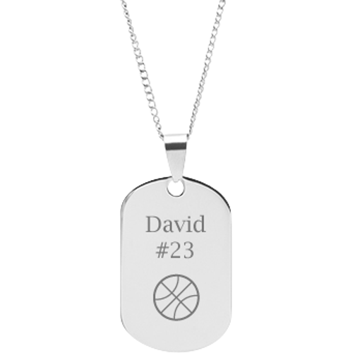 Engraved sports jewelry personalized sports pendants dmd stainless steel personalized engraved basketball dog tag sports pendant with chain mozeypictures Gallery