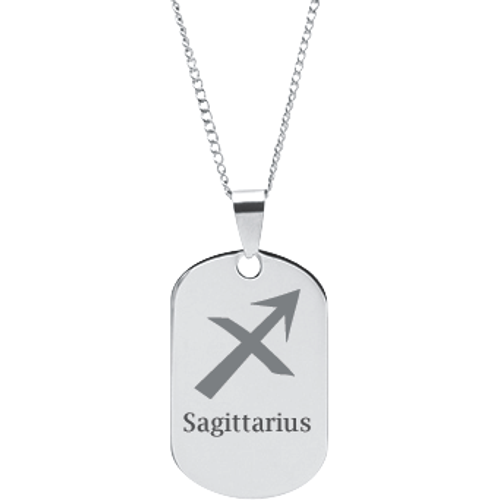 Zodiac Dog Tag Stainless Steel Pendant Necklace: Engraved Zodiac Sign Symbol Pendant