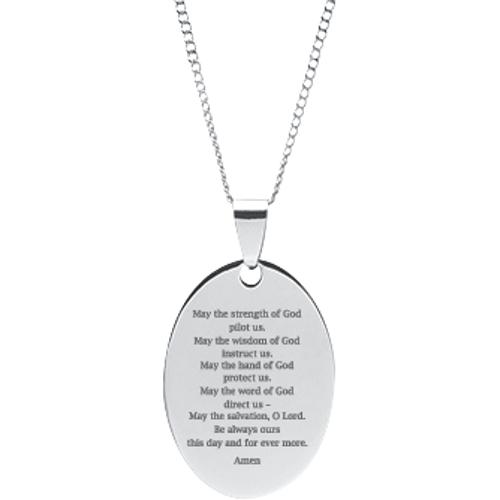 Saint patrick pendant prayer dog tag 2176 r019 dmd collection stainless steel engraved saint patrick oval prayer pendant with chain aloadofball Choice Image