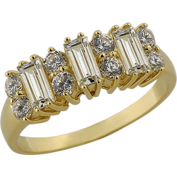 14K Yellow Gold 2.08 ctw Baguette and Round Cubic Zirconia Ring