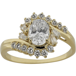 14K Yellow Gold 1.85 ctw Cubic Zirconia Cocktail Ring