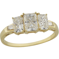 14K Yellow Gold 3 Stone Cubic Zirconia  Ring