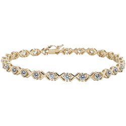 "14K Yellow Gold X O Cubic Zirconia  7.25"" Tennis Bracelet"