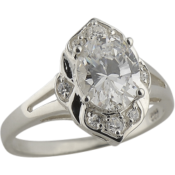 Sterling Silver Cubic Zirconia Vintage Style Ring