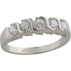 Sterling Silver Cubic Zirconia 5 Stone S Anniversary Band Ring