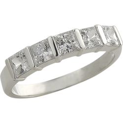 Sterling Silver Square Cubic Zirconia Anniversary Band Ring