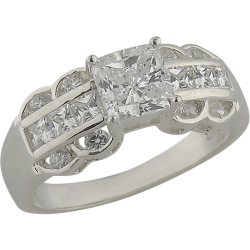 Sterling Silver Princess Cut Cubic Zirconia  Fashion Ring