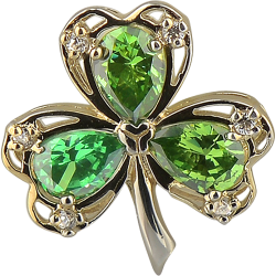 Sterling Silver Gold Plated Lucky Shamrock Pendant with Chain