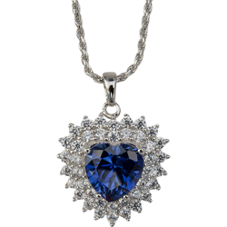 Sterling Silver Sapphire Blue Cubic Zirconia Cluster Heart Pendant with Chain