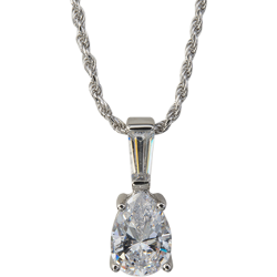 Sterling Silver Pear and Baguette Cubic Zirconia Solitaire Pendant