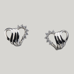 Sterling Silver Cubic Zirconia Swirl Heart Pierced Earrings