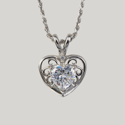 Sterling Silver Cubic Zirconia Filigree Heart  Pendant