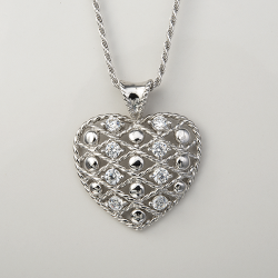 Sterling Silver Cubic Zirconia Filigree Puffed Heart Pendant