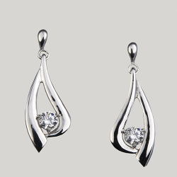 Sterling Silver Cubic Zirconia Swirl Drop Earrings