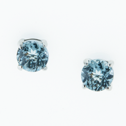 Sterling Silver  Blue Topaz 6mm Round Solitaire Earrings