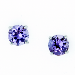 Sterling Silver Amethyst 6mm Round Solitaire Earrings