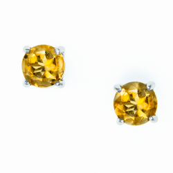 Sterling Silver Genuine Citrine 6mm Round Solitaire Earrings
