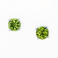 Sterling Silver Peridot 6mm Round Solitaire Earrings