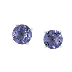 Sterling Silver Amethyst 8mm Round Solitaire Earrings