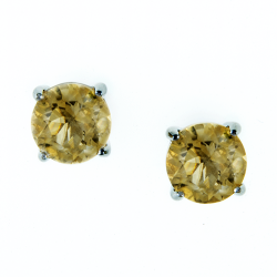 Sterling Silver Citrine 8mm Round Solitaire Earrings