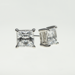 Sterling Silver 7x7mm Cubic Zirconia  Princess Cut Solitaire Earrings