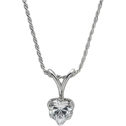 Sterling Silver 8mm Cubic Zirconia  Heart Solitaire Pendant with Chain