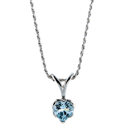 Sterling Silver Genuine 8mm Blue Topaz Heart Solitaire Pendant with Chain