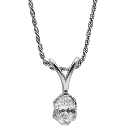 Sterling Silver Oval Cubic Zirconia Solitaire Pendant with Chain
