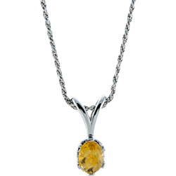 Sterling Silver Genuine Citrine Oval 8x6mm Solitaire Pendant with Chain