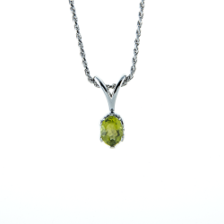 Sterling Silver Genuine Peridot 8x6mm Oval Solitaire Pendant with Chain