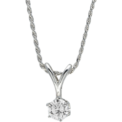 Sterling Silver Round Cubic Zirconia Solitaire Pendant with Chain
