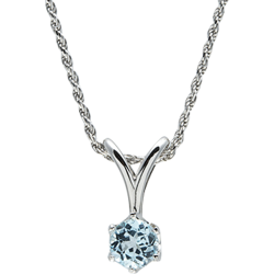 Sterling Silver Genuine 6.5mm Blue Topaz Round Solitaire Pendant with Chain
