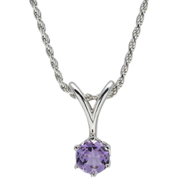 Sterling Silver Genuine 6.5mm Amethyst Round Solitaire Pendant with Chain