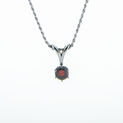Sterling Silver 6.5mm Garnet Round Solitaire Pendant