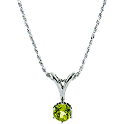 Sterling Silver 6.5mm Round Peridot Solitaire Pendant