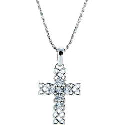 Sterling Silver Cubic Zirconia Celtic Cross Pendant