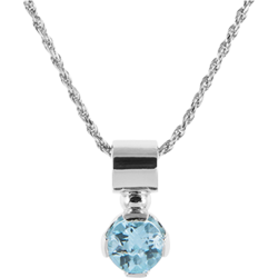 Sterling Silver Blue Topaz 7mm Round Solitaire Pendant