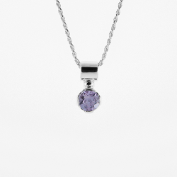 Sterling Silver Genuine Amethyst 7mm Round Solitaire Pendant with Chain