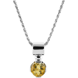 Sterling Silver Genuine Citrine 7mm Round Solitaire Pendant with Chain