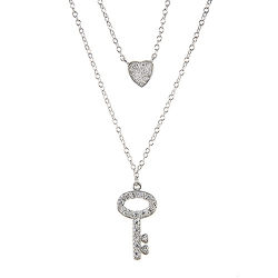 Sterling Silver Cubic Zirconia Key to My Heart Double Necklace