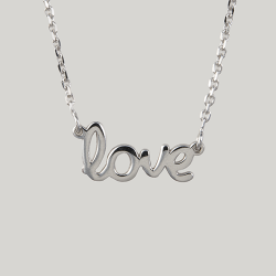 Sterling Silver Love Scriptword Necklace
