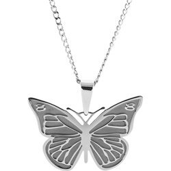 Stainless Steel Personalized Engraved Butterfly Pendant