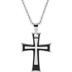 Stainless Steel and Black Personalized Cross Pendant Engravable