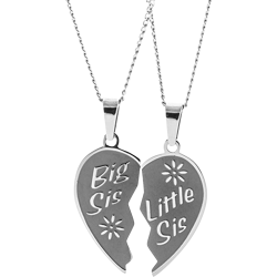 Stainless Steel Personalized Engraved Sisters Breakable Pendant with 2 Chains