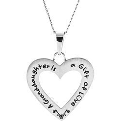Stainless Steel Granddaughter Open Heart  Pendant Engravable