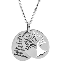 Personalized Engravable Stainless Steel Tree of Life Pendant With Serenity Prayer